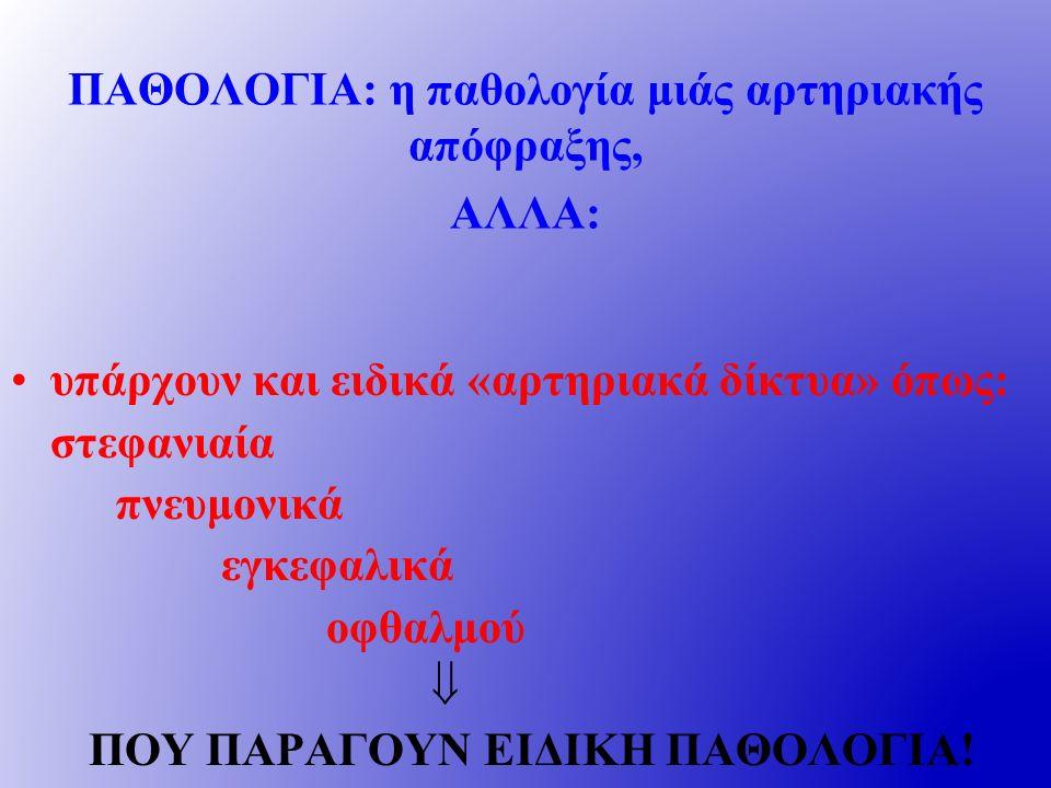 ΠΑΘΟΛΟΓΙΑ: η παθολογία μιάς αρτηριακής απόφραξης, ΑΛΛΑ: υπάρχουν και ειδικά «αρτηριακά δίκτυα» όπως: στεφανιαία πνευμονικά εγκεφαλικά οφθαλμού  ΠΟΥ ΠΑΡΑΓΟΥΝ ΕΙΔΙΚΗ ΠΑΘΟΛΟΓΙΑ!