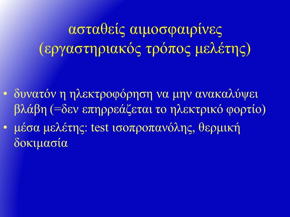 ασταθείς αιμοσφαιρίνες (εργαστηριακός τρόπος μελέτης) δυνατόν η ηλεκτροφόρηση να μην ανακαλύψει βλάβη (=δεν επηρρεάζεται το ηλεκτρικό φορτίο) μέσα μελέτης: test ισοπροπανόλης, θερμική δοκιμασία