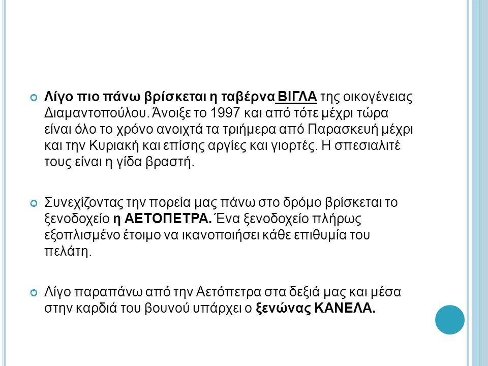 Λίγο πιο πάνω βρίσκεται η ταβέρνα ΒΙΓΛΑ της οικογένειας Διαμαντοπούλου. Άνοιξε το 1997 και από τότε μέχρι τώρα είναι όλο το χρόνο ανοιχτά τα τριήμερα