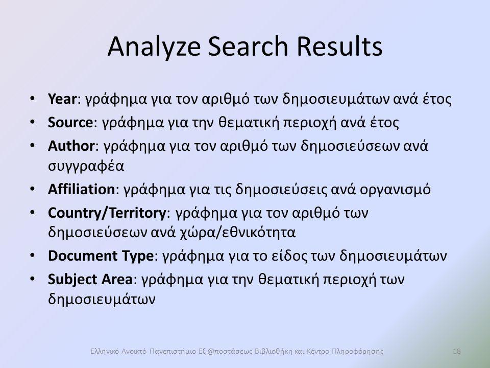 Analyze Search Results Year: γράφημα για τον αριθμό των δημοσιευμάτων ανά έτος Source: γράφημα για την θεματική περιοχή ανά έτος Author: γράφημα για τον αριθμό των δημοσιεύσεων ανά συγγραφέα Affiliation: γράφημα για τις δημοσιεύσεις ανά οργανισμό Country/Territory: γράφημα για τον αριθμό των δημοσιεύσεων ανά χώρα/εθνικότητα Document Type: γράφημα για το είδος των δημοσιευμάτων Subject Area: γράφημα για την θεματική περιοχή των δημοσιευμάτων Ελληνικό Ανοικτό Πανεπιστήμιο Εξ @ποστάσεως Βιβλιοθήκη και Κέντρο Πληροφόρησης18