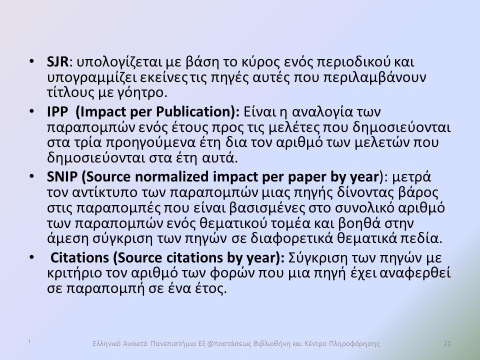 SJR: υπολογίζεται με βάση το κύρος ενός περιοδικού και υπογραμμίζει εκείνες τις πηγές αυτές που περιλαμβάνουν τίτλους με γόητρο.