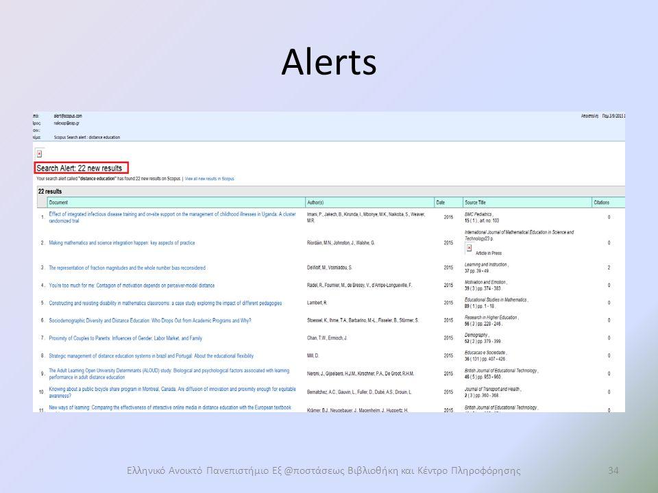 Alerts Ελληνικό Ανοικτό Πανεπιστήμιο Εξ @ποστάσεως Βιβλιοθήκη και Κέντρο Πληροφόρησης34