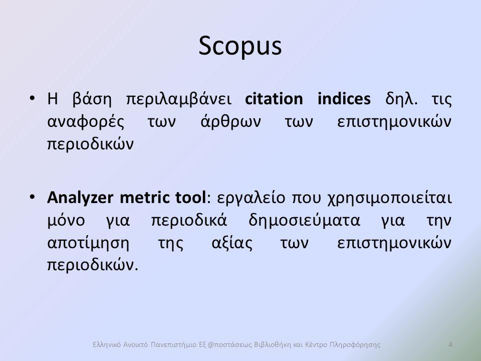 Πρόσβαση σε Scopus Μέσω της ιστοσελίδας της Βιβλιοθήκης http://lib.eap.gr Ηλεκτρονικές Πηγές – Heal Link - Βιβλιογραφικές Βάσεις/Βάσεις Πλήρους Κειμένου - Scopus.