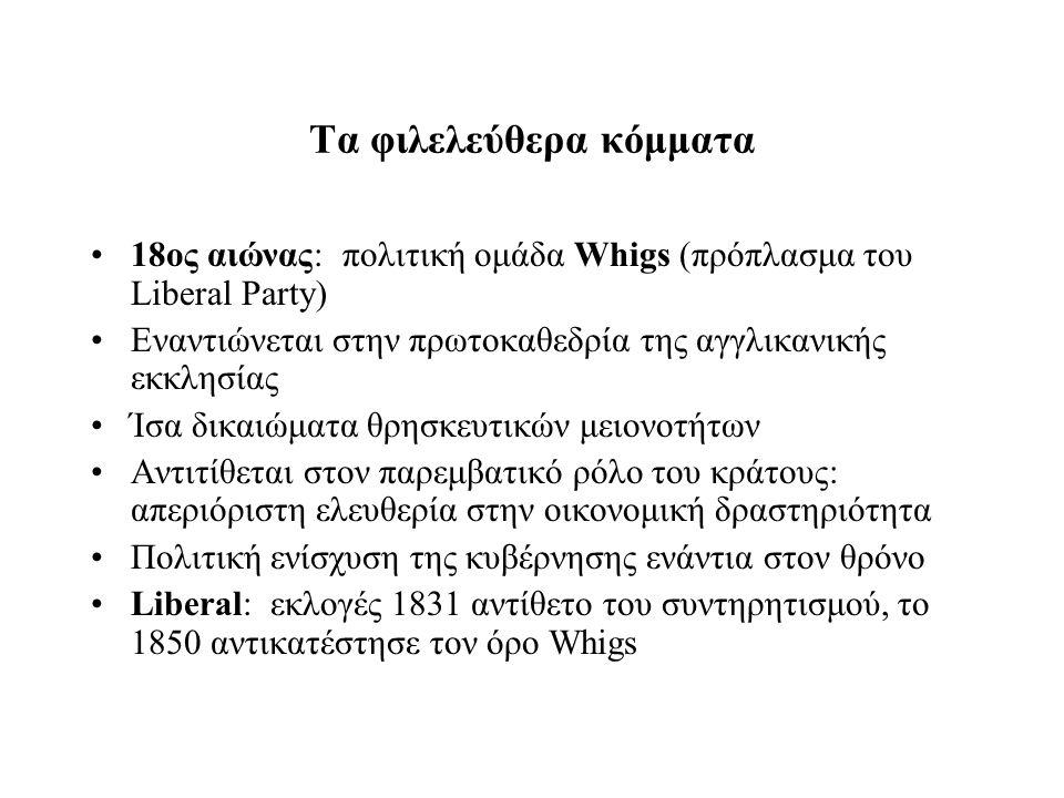Τα φιλελεύθερα κόμματα 18ος αιώνας: πολιτική ομάδα Whigs (πρόπλασμα του Liberal Party) Εναντιώνεται στην πρωτοκαθεδρία της αγγλικανικής εκκλησίας Ίσα δικαιώματα θρησκευτικών μειονοτήτων Αντιτίθεται στον παρεμβατικό ρόλο του κράτους: απεριόριστη ελευθερία στην οικονομική δραστηριότητα Πολιτική ενίσχυση της κυβέρνησης ενάντια στον θρόνο Liberal: εκλογές 1831 αντίθετο του συντηρητισμού, το 1850 αντικατέστησε τον όρο Whigs