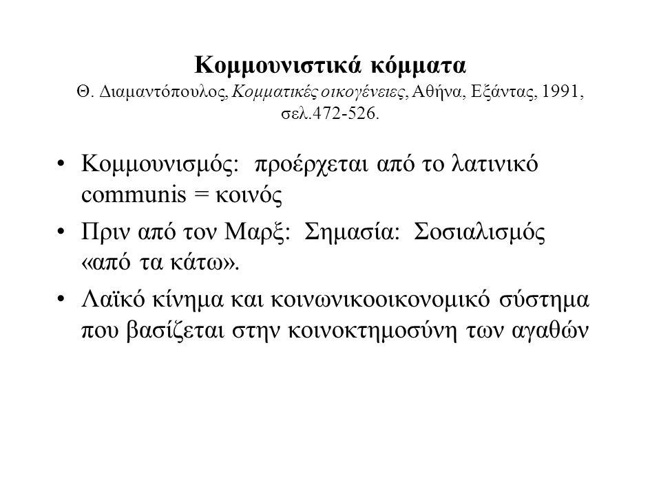 Κομμουνιστικά κόμματα Θ. Διαμαντόπουλος, Κομματικές οικογένειες, Αθήνα, Εξάντας, 1991, σελ.472-526.