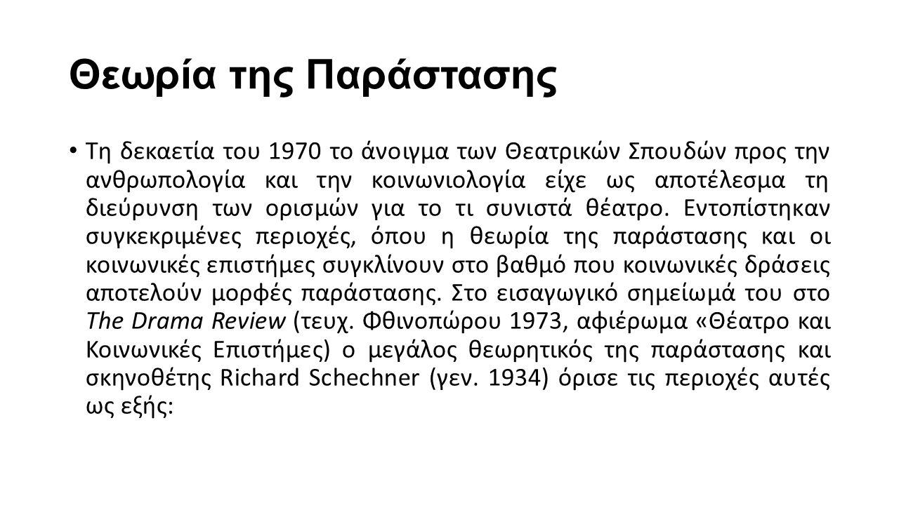 Θεωρία της Παράστασης Τη δεκαετία του 1970 το άνοιγμα των Θεατρικών Σπουδών προς την ανθρωπολογία και την κοινωνιολογία είχε ως αποτέλεσμα τη διεύρυνσ