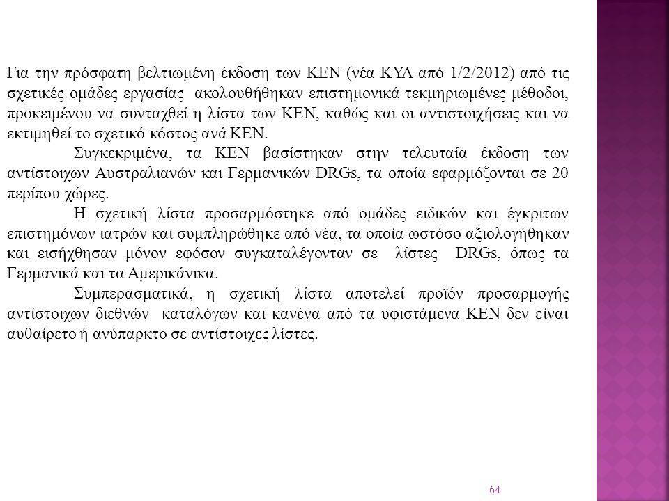64 Για την πρόσφατη βελτιωμένη έκδοση των ΚΕΝ (νέα ΚΥΑ από 1/2/2012) από τις σχετικές ομάδες εργασίας ακολουθήθηκαν επιστημονικά τεκμηριωμένες μέθοδοι, προκειμένου να συνταχθεί η λίστα των ΚΕΝ, καθώς και οι αντιστοιχήσεις και να εκτιμηθεί το σχετικό κόστος ανά ΚΕΝ.