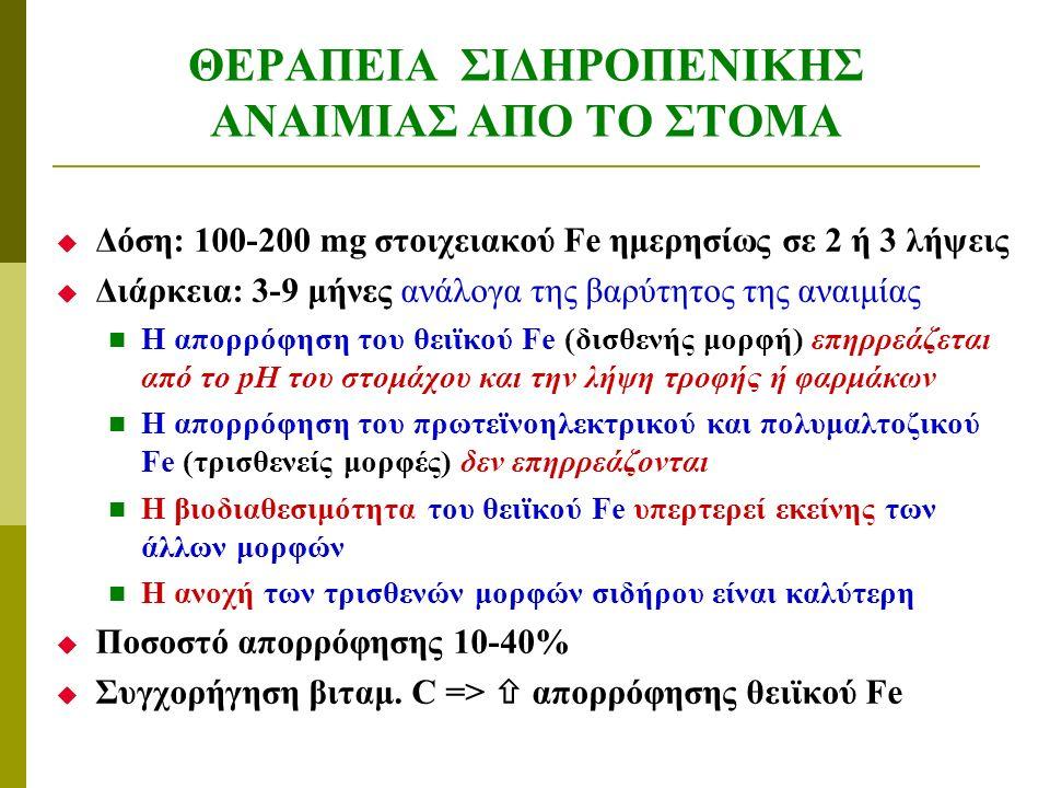 ΘΕΡΑΠΕΙΑ ΣΙΔΗΡΟΠΕΝΙΚΗΣ ΑΝΑΙΜΙΑΣ ΑΠΟ ΤΟ ΣΤΟΜΑ  Δόση: 100-200 mg στοιχειακού Fe ημερησίως σε 2 ή 3 λήψεις  Διάρκεια: 3-9 μήνες ανάλογα της βαρύτητος της αναιμίας H απορρόφηση του θειϊκού Fe (δισθενής μορφή) επηρρεάζεται από το pH του στομάχου και την λήψη τροφής ή φαρμάκων Η απορρόφηση του πρωτεϊνοηλεκτρικού και πολυμαλτοζικού Fe (τρισθενείς μορφές) δεν επηρρεάζονται Η βιοδιαθεσιμότητα του θειϊκού Fe υπερτερεί εκείνης των άλλων μορφών Η ανοχή των τρισθενών μορφών σιδήρου είναι καλύτερη  Ποσοστό απορρόφησης 10-40%  Συγχορήγηση βιταμ.