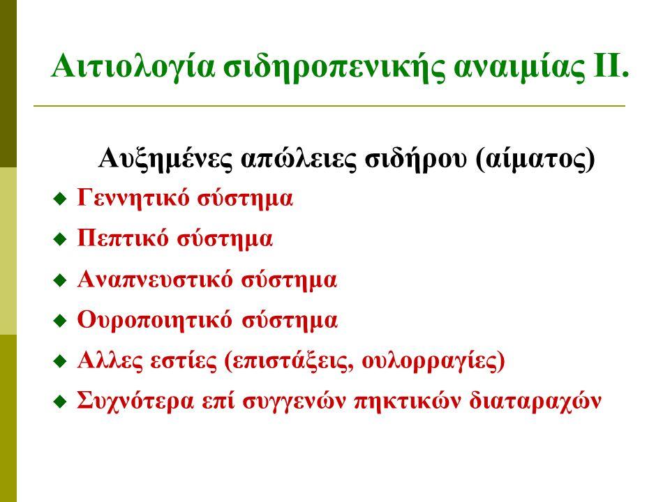 Αιτιολογία σιδηροπενικής αναιμίας ΙΙ.