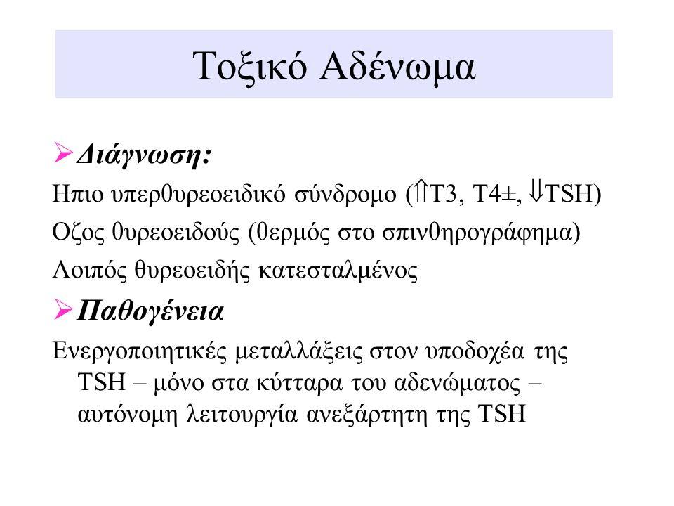 Τοξικό Αδένωμα  Διάγνωση: Hπιο υπερθυρεοειδικό σύνδρομο (  Τ3, Τ4±,  TSH) Oζος θυρεοειδούς (θερμός στο σπινθηρογράφημα) Λοιπός θυρεοειδής κατεσταλμ