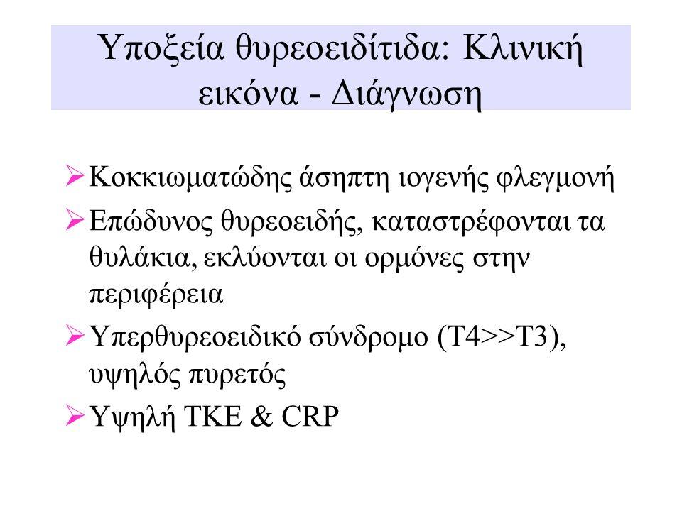 Υποξεία θυρεοειδίτιδα: Κλινική εικόνα - Διάγνωση  Κοκκιωματώδης άσηπτη ιογενής φλεγμονή  Επώδυνος θυρεοειδής, καταστρέφονται τα θυλάκια, εκλύονται ο