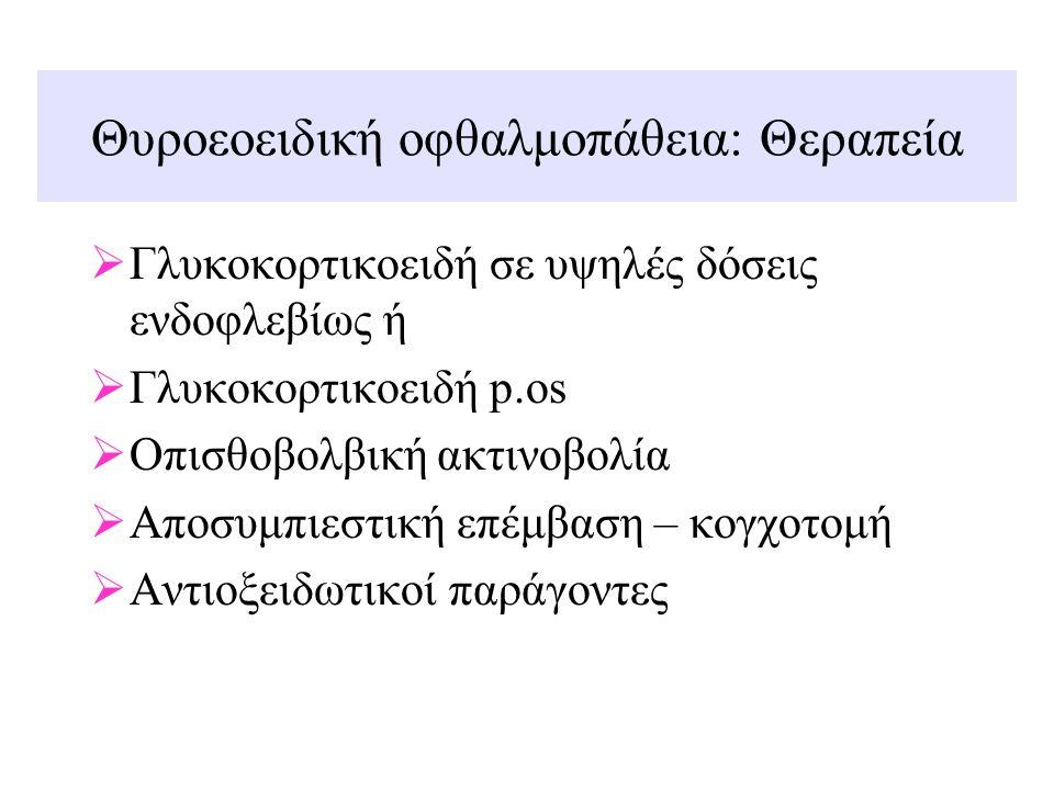Θυροεοειδική οφθαλμοπάθεια: Θεραπεία  Γλυκοκορτικοειδή σε υψηλές δόσεις ενδοφλεβίως ή  Γλυκοκορτικοειδή p.os  Οπισθοβολβική ακτινοβολία  Αποσυμπιε
