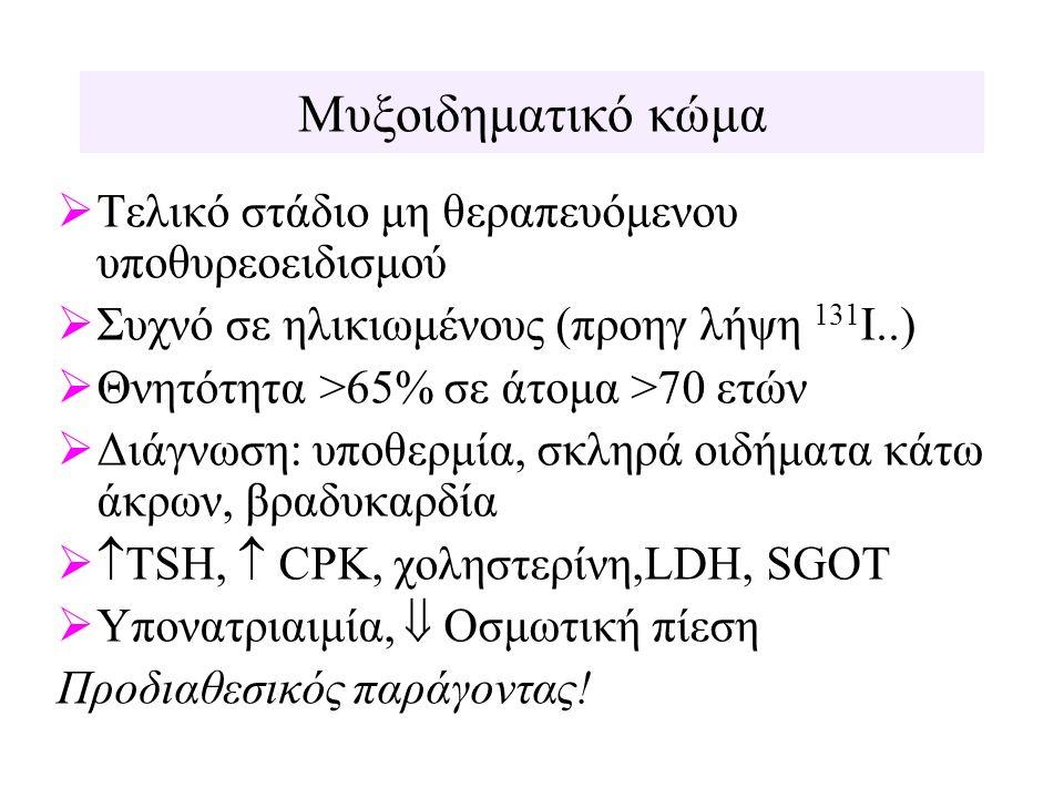 Μυξοιδηματικό κώμα  Τελικό στάδιο μη θεραπευόμενου υποθυρεοειδισμού  Συχνό σε ηλικιωμένους (προηγ λήψη 131 Ι..)  Θνητότητα >65% σε άτομα >70 ετών 
