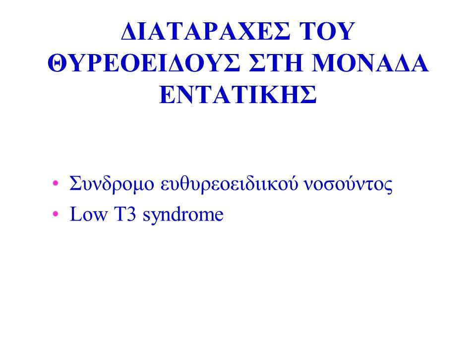 ΔΙΑΤΑΡΑΧΕΣ ΤΟΥ ΘΥΡΕΟΕΙΔΟΥΣ ΣΤΗ ΜΟΝΑΔΑ ΕΝΤΑΤΙΚΗΣ Συνδρομο ευθυρεοειδιικού νοσoύντος Low T3 syndrome