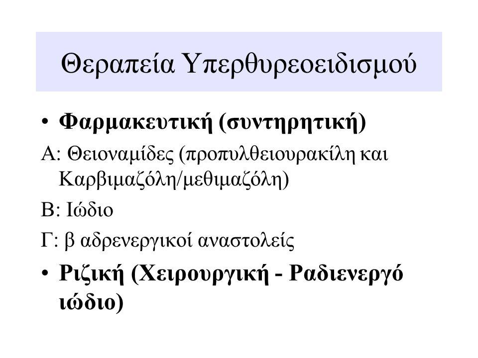 Θεραπεία υπερθυρεοειδισμού Α Θειοναμίδες:  Αναστέλλουν την ενσωμάτωση του ιωδίου στις τυροσίνες της θυρεοσφαιρίνης  Αναστέλλουν τη σύζευξη των ιωδοτυροσινών σε ιωδοθυρονίνες (αναστολή δράσης υπεροξειδάσης)  Αναστέλλουν τη μετατροπή της Τ4 σε Τ3 (μόνο η Propylthiouracil) Απορρόφηση: σε 20-30 λεπτά επαρκή επίπεδα.