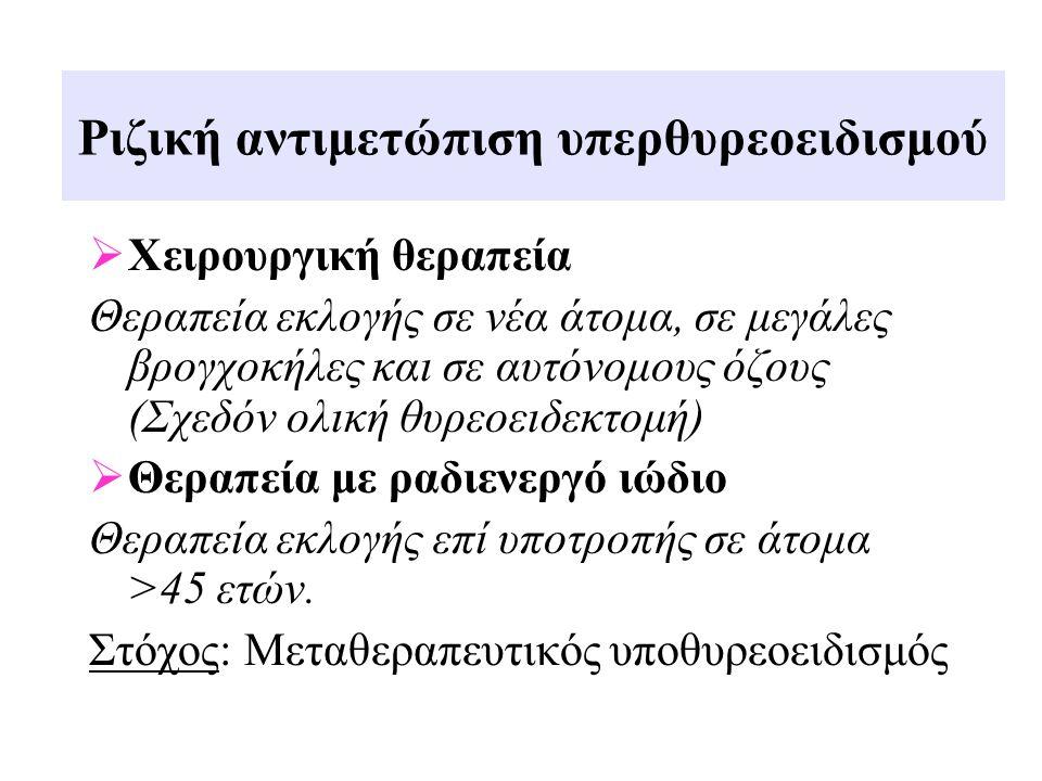 Τοξικό Αδένωμα  Διάγνωση: Hπιο υπερθυρεοειδικό σύνδρομο (  Τ3, Τ4±,  TSH) Oζος θυρεοειδούς (θερμός στο σπινθηρογράφημα) Λοιπός θυρεοειδής κατεσταλμένος  Παθογένεια Ενεργοποιητικές μεταλλάξεις στον υποδοχέα της TSH – μόνο στα κύτταρα του αδενώματος – αυτόνομη λειτουργία ανεξάρτητη της TSH