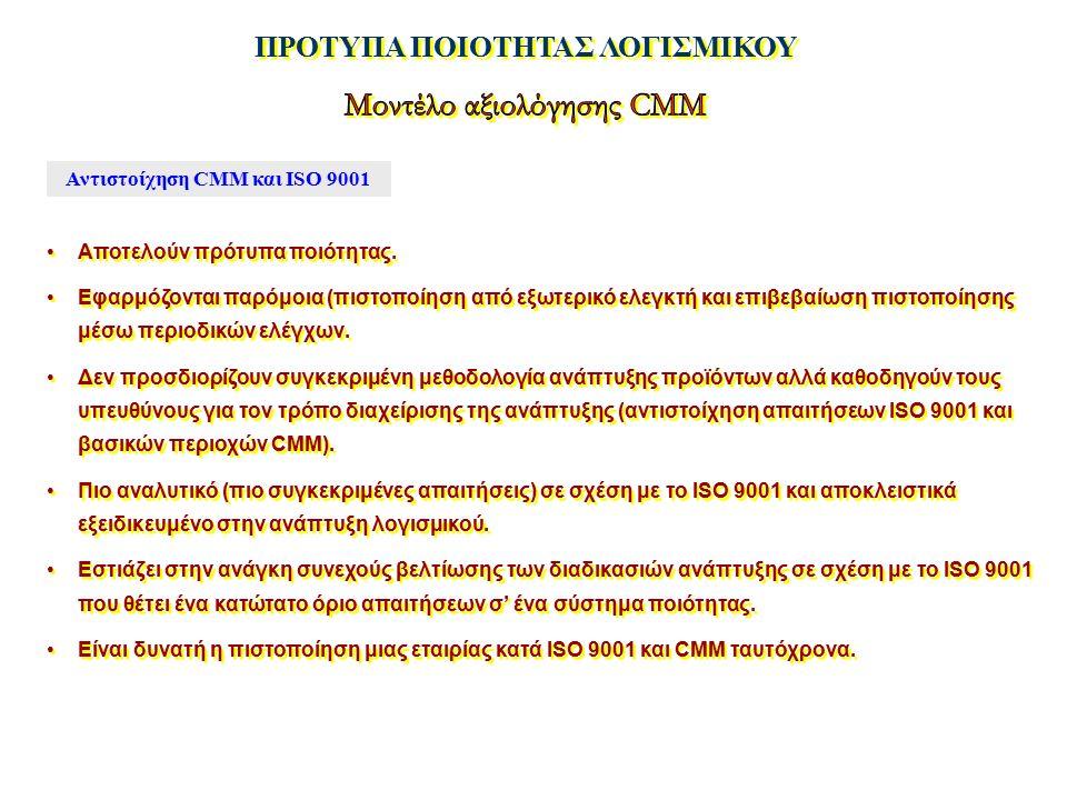 ΠΡΟΤΥΠΑ ΠΟΙΟΤΗΤΑΣ ΛΟΓΙΣΜΙΚΟΥ Αντιστοίχηση CMM και ISO 9001 Αποτελούν πρότυπα ποιότητας. Εφαρμόζονται παρόμοια (πιστοποίηση από εξωτερικό ελεγκτή και ε