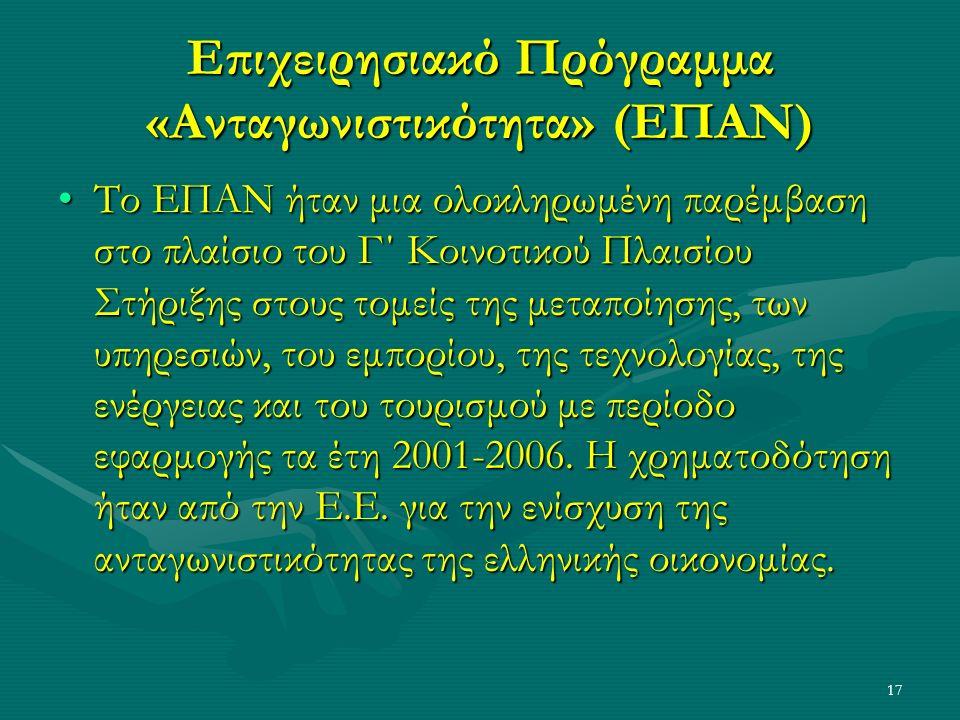 17 Επιχειρησιακό Πρόγραμμα «Ανταγωνιστικότητα» (ΕΠΑΝ) Το ΕΠΑΝ ήταν μια ολοκληρωμένη παρέμβαση στο πλαίσιο του Γ΄ Κοινοτικού Πλαισίου Στήριξης στους τομείς της μεταποίησης, των υπηρεσιών, του εμπορίου, της τεχνολογίας, της ενέργειας και του τουρισμού με περίοδο εφαρμογής τα έτη 2001-2006.