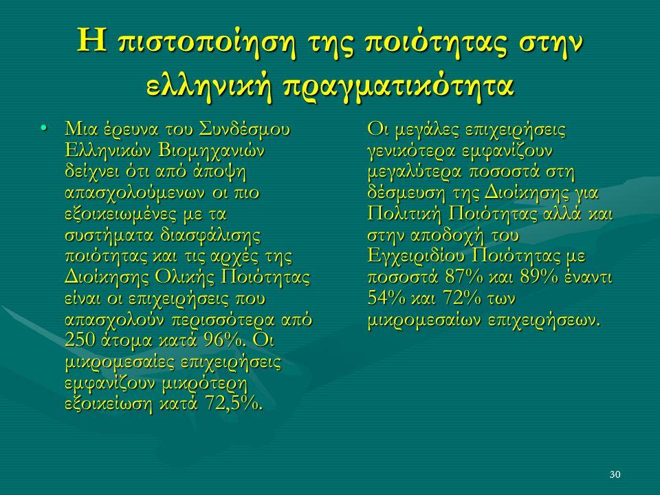 30 Η πιστοποίηση της ποιότητας στην ελληνική πραγματικότητα Μια έρευνα του Συνδέσμου Ελληνικών Βιομηχανιών δείχνει ότι από άποψη απασχολούμενων οι πιο εξοικειωμένες με τα συστήματα διασφάλισης ποιότητας και τις αρχές της Διοίκησης Ολικής Ποιότητας είναι οι επιχειρήσεις που απασχολούν περισσότερα από 250 άτομα κατά 96%.