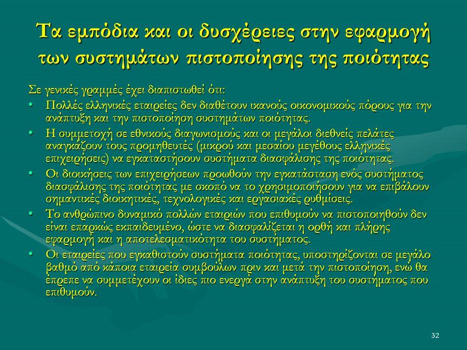 32 Τα εμπόδια και οι δυσχέρειες στην εφαρμογή των συστημάτων πιστοποίησης της ποιότητας Σε γενικές γραμμές έχει διαπιστωθεί ότι: Πολλές ελληνικές εταιρείες δεν διαθέτουν ικανούς οικονομικούς πόρους για την ανάπτυξη και την πιστοποίηση συστημάτων ποιότητας.Πολλές ελληνικές εταιρείες δεν διαθέτουν ικανούς οικονομικούς πόρους για την ανάπτυξη και την πιστοποίηση συστημάτων ποιότητας.