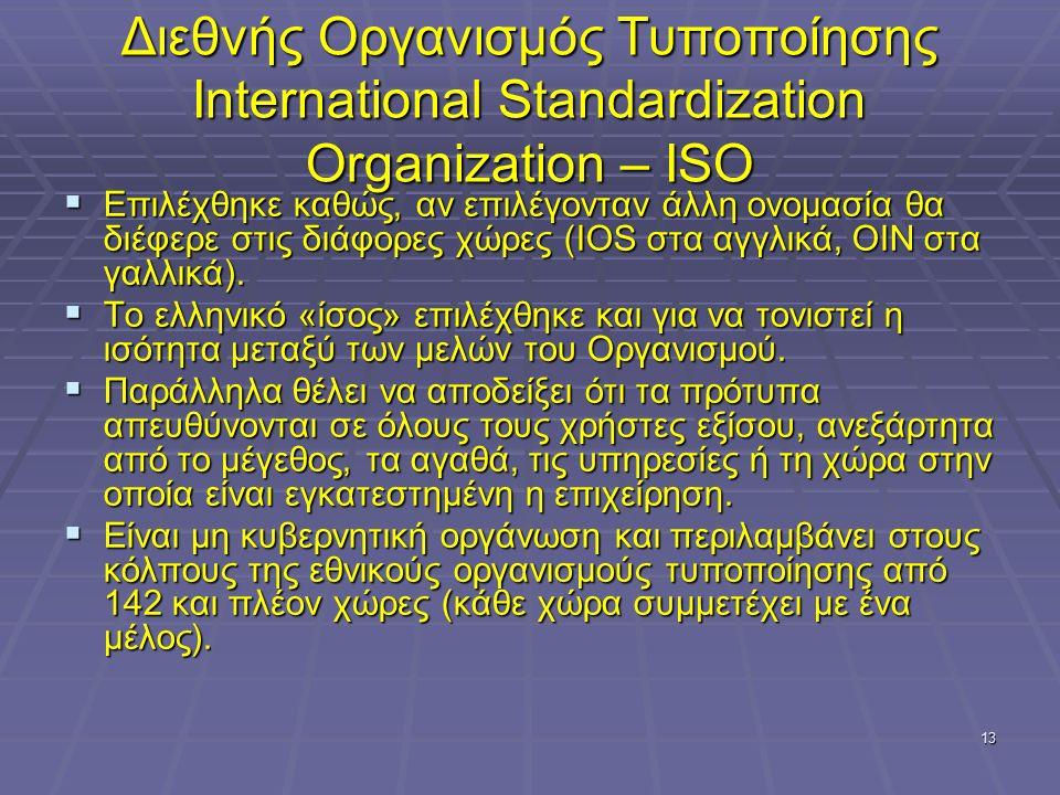13 Διεθνής Οργανισμός Τυποποίησης International Standardization Organization – ISO  Επιλέχθηκε καθώς, αν επιλέγονταν άλλη ονομασία θα διέφερε στις δι