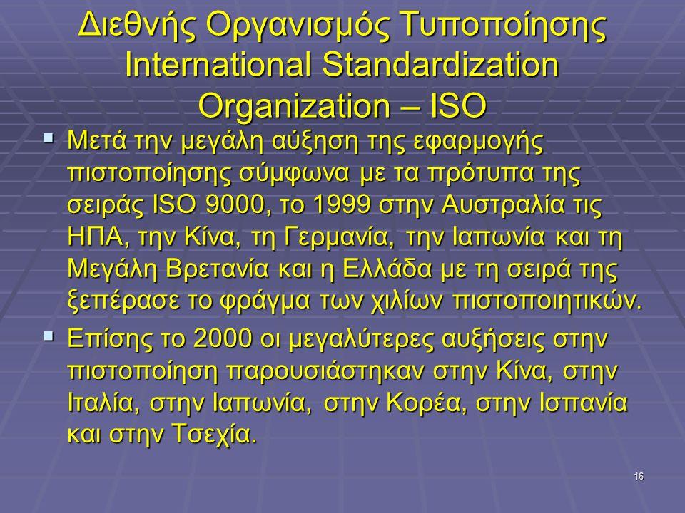 16 Διεθνής Οργανισμός Τυποποίησης International Standardization Organization – ISO  Μετά την μεγάλη αύξηση της εφαρμογής πιστοποίησης σύμφωνα με τα π