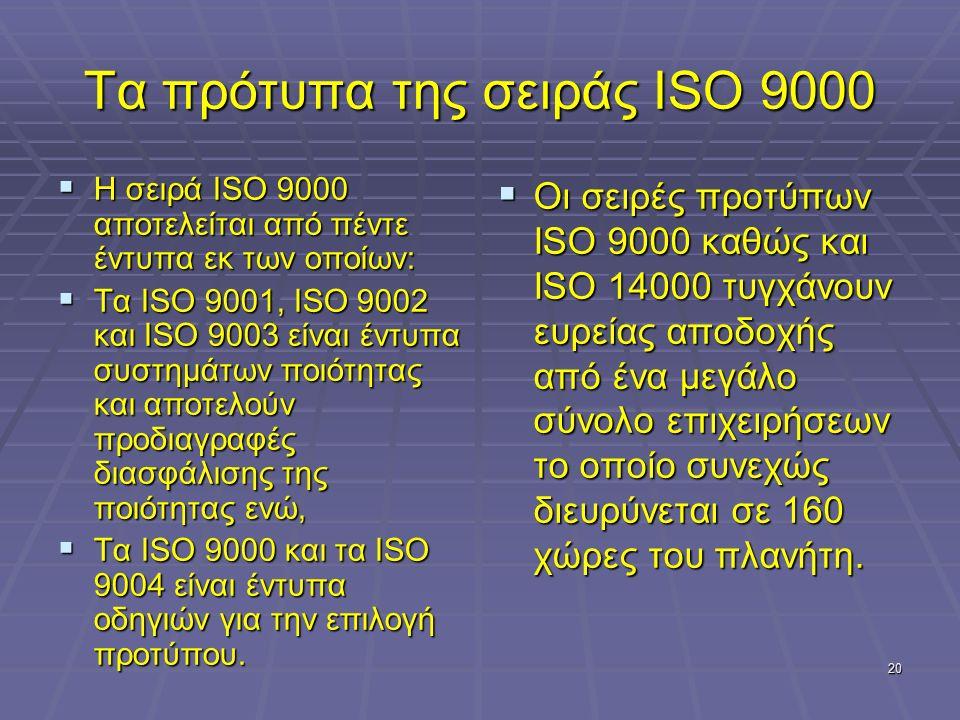 20 Τα πρότυπα της σειράς ISO 9000  Η σειρά ISO 9000 αποτελείται από πέντε έντυπα εκ των οποίων:  Τα ISO 9001, ISO 9002 και ISO 9003 είναι έντυπα συστημάτων ποιότητας και αποτελούν προδιαγραφές διασφάλισης της ποιότητας ενώ,  Τα ISO 9000 και τα ISO 9004 είναι έντυπα οδηγιών για την επιλογή προτύπου.