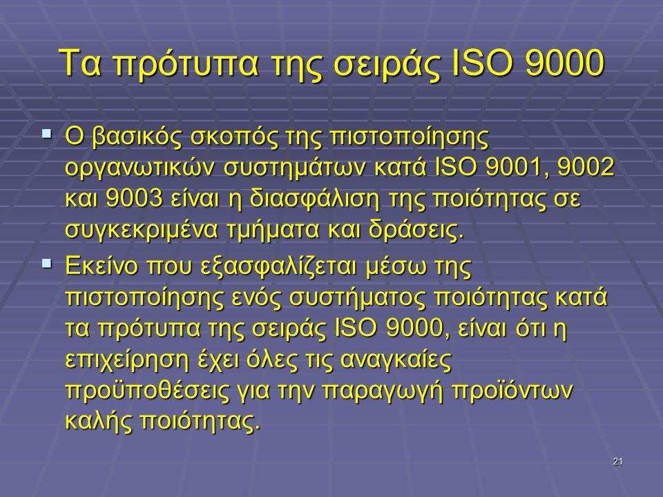 21 Τα πρότυπα της σειράς ISO 9000  Ο βασικός σκοπός της πιστοποίησης οργανωτικών συστημάτων κατά ISO 9001, 9002 και 9003 είναι η διασφάλιση της ποιότητας σε συγκεκριμένα τμήματα και δράσεις.