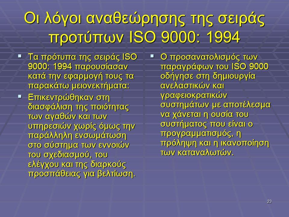 23 Οι λόγοι αναθεώρησης της σειράς προτύπων ISO 9000: 1994  Τα πρότυπα της σειράς ISO 9000: 1994 παρουσίασαν κατά την εφαρμογή τους τα παρακάτω μειονεκτήματα:  Επικεντρώθηκαν στη διασφάλιση της ποιότητας των αγαθών και των υπηρεσιών χωρίς όμως την παράλληλη ενσωμάτωση στο σύστημα των εννοιών του σχεδιασμού, του ελέγχου και της διαρκούς προσπάθειας για βελτίωση.