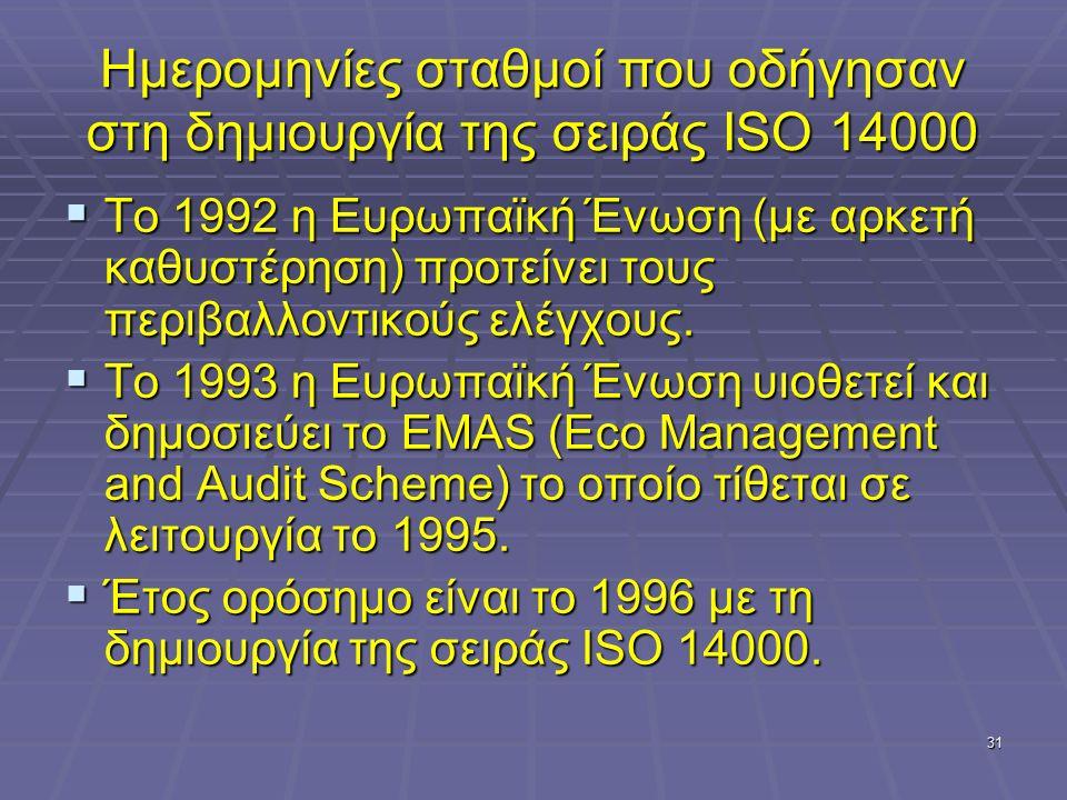 31 Ημερομηνίες σταθμοί που οδήγησαν στη δημιουργία της σειράς ISO 14000  Το 1992 η Ευρωπαϊκή Ένωση (με αρκετή καθυστέρηση) προτείνει τους περιβαλλοντικούς ελέγχους.