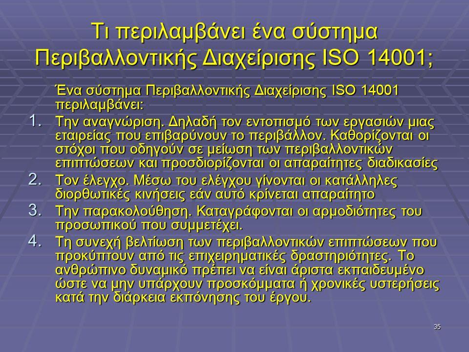 35 Τι περιλαμβάνει ένα σύστημα Περιβαλλοντικής Διαχείρισης ISO 14001; Ένα σύστημα Περιβαλλοντικής Διαχείρισης ISO 14001 περιλαμβάνει: 1. Την αναγνώρισ
