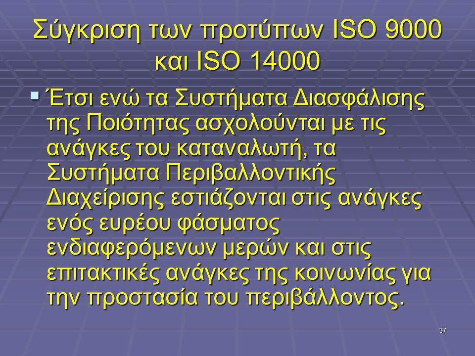 37 Σύγκριση των προτύπων ISO 9000 και ISO 14000  Έτσι ενώ τα Συστήματα Διασφάλισης της Ποιότητας ασχολούνται με τις ανάγκες του καταναλωτή, τα Συστήμ