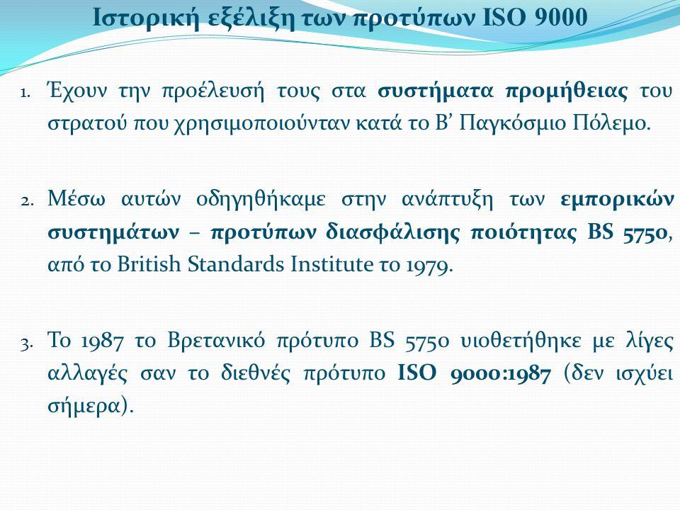Ιστορική εξέλιξη των προτύπων ISO 9000 1. Έχουν την προέλευσή τους στα συστήματα προμήθειας του στρατού που χρησιμοποιούνταν κατά το Β' Παγκόσμιο Πόλε