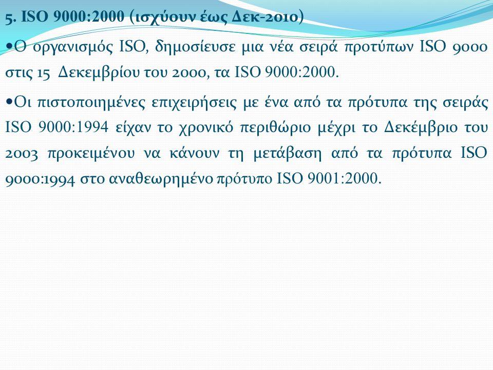 5. ISO 9000:2000 (ισχύουν έως Δεκ-2010) Ο οργανισμός ISO, δημοσίευσε μια νέα σειρά προτύπων ISO 9000 στις 15 Δεκεμβρίου του 2000, τα ISO 9000:2000. Οι