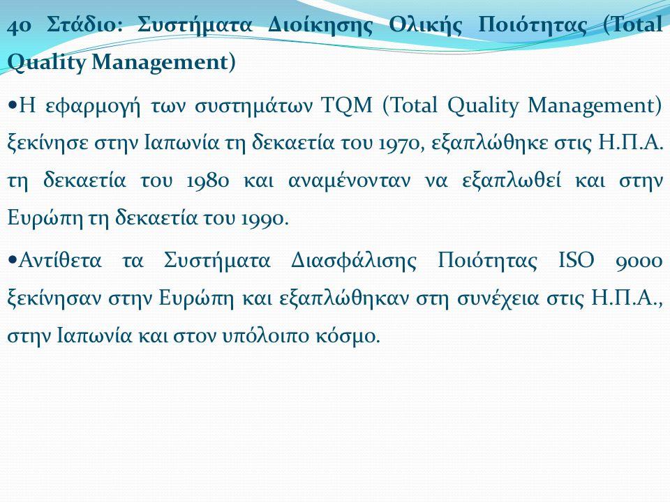 4ο Στάδιο: Συστήματα Διοίκησης Ολικής Ποιότητας (Total Quality Management) H εφαρμογή των συστημάτων TQM (Total Quality Management) ξεκίνησε στην Ιαπωνία τη δεκαετία του 1970, εξαπλώθηκε στις Η.Π.Α.
