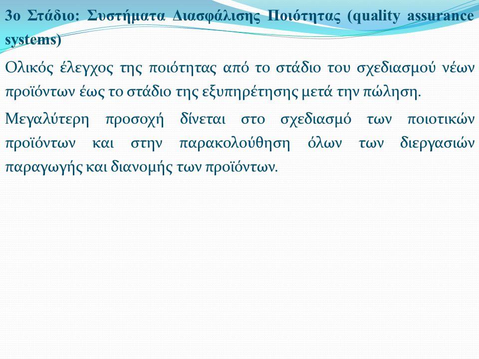 3ο Στάδιο: Συστήματα Διασφάλισης Ποιότητας (quality assurance systems) Ολικός έλεγχος της ποιότητας από το στάδιο του σχεδιασμού νέων προϊόντων έως το στάδιο της εξυπηρέτησης μετά την πώληση.