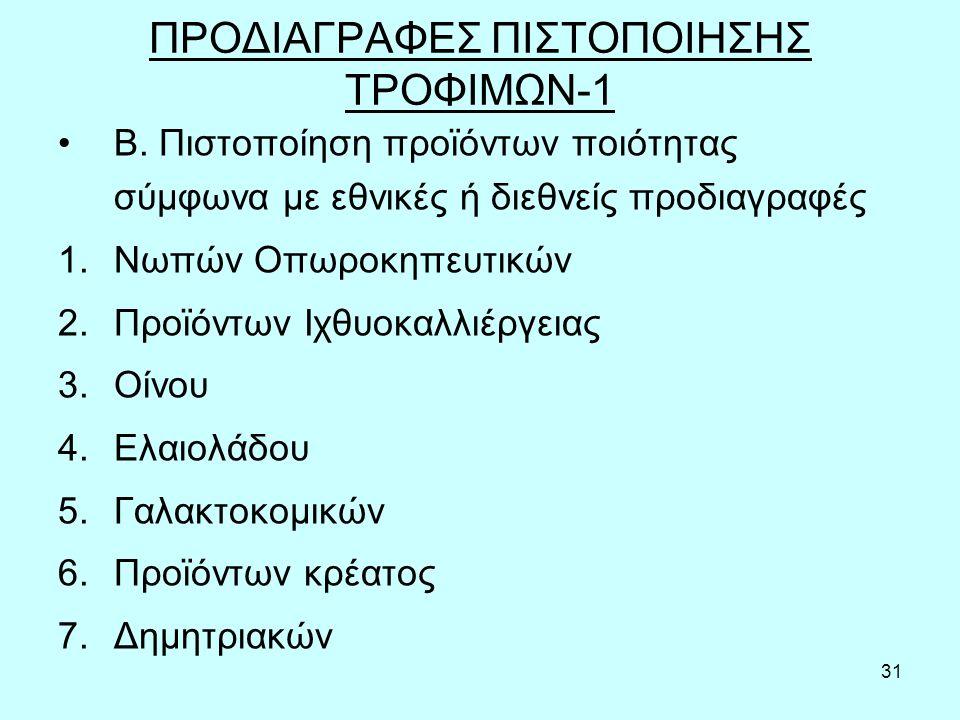 31 ΠΡΟΔΙΑΓΡΑΦΕΣ ΠΙΣΤΟΠΟΙΗΣΗΣ ΤΡΟΦΙΜΩΝ-1 Β.