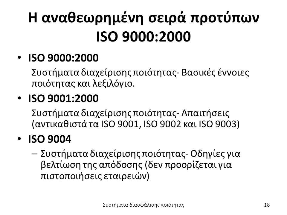 Η αναθεωρημένη σειρά προτύπων ISO 9000:2000 ISO 9000:2000 Συστήματα διαχείρισης ποιότητας- Βασικές έννοιες ποιότητας και λεξιλόγιο.