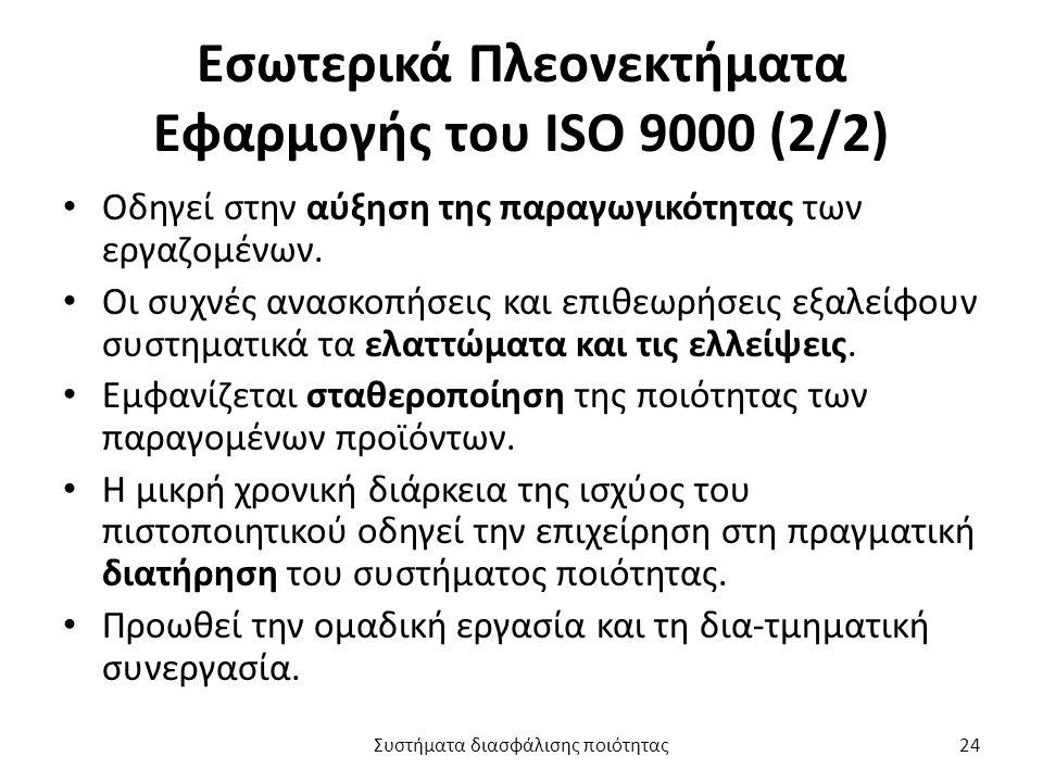 Εσωτερικά Πλεονεκτήματα Εφαρμογής του ISO 9000 (2/2) Οδηγεί στην αύξηση της παραγωγικότητας των εργαζομένων.