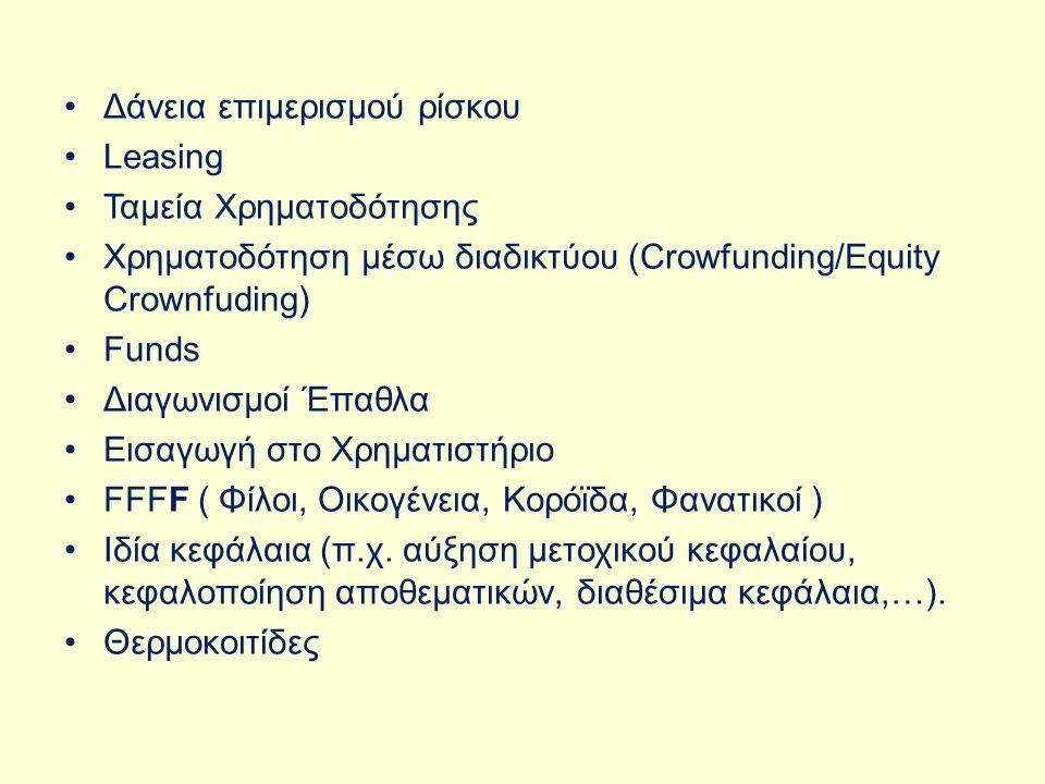 Δάνεια επιμερισμού ρίσκου Leasing Ταμεία Χρηματοδότησης Χρηματοδότηση μέσω διαδικτύου (Crowfunding/Εquity Crownfuding) Funds Διαγωνισμοί Έπαθλα Εισαγωγή στο Χρηματιστήριο FFFF ( Φίλοι, Oικογένεια, Κορόϊδα, Φανατικοί ) Ιδία κεφάλαια (π.χ.