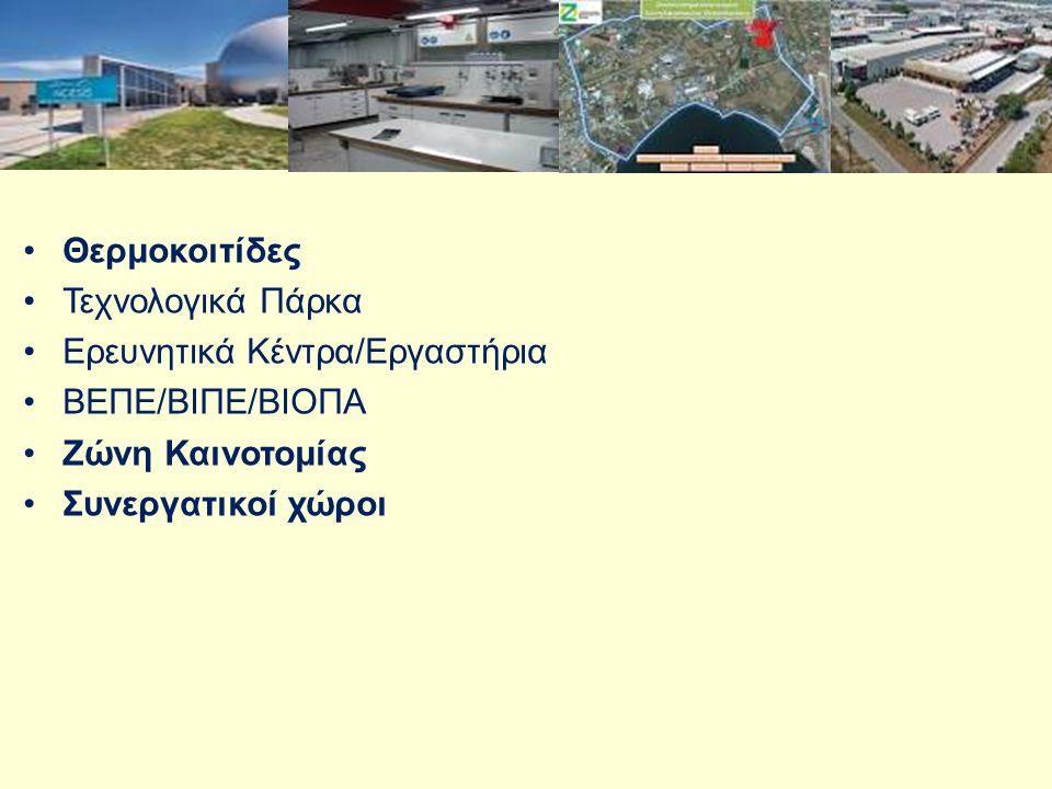 Τεχνολογικά Πάρκα Eρευνητικά Κέντρα/Εργαστήρια ΒΕΠΕ/ΒΙΠΕ/ΒΙΟΠΑ Ζώνη Καινοτομίας Συνεργατικοί χώροι