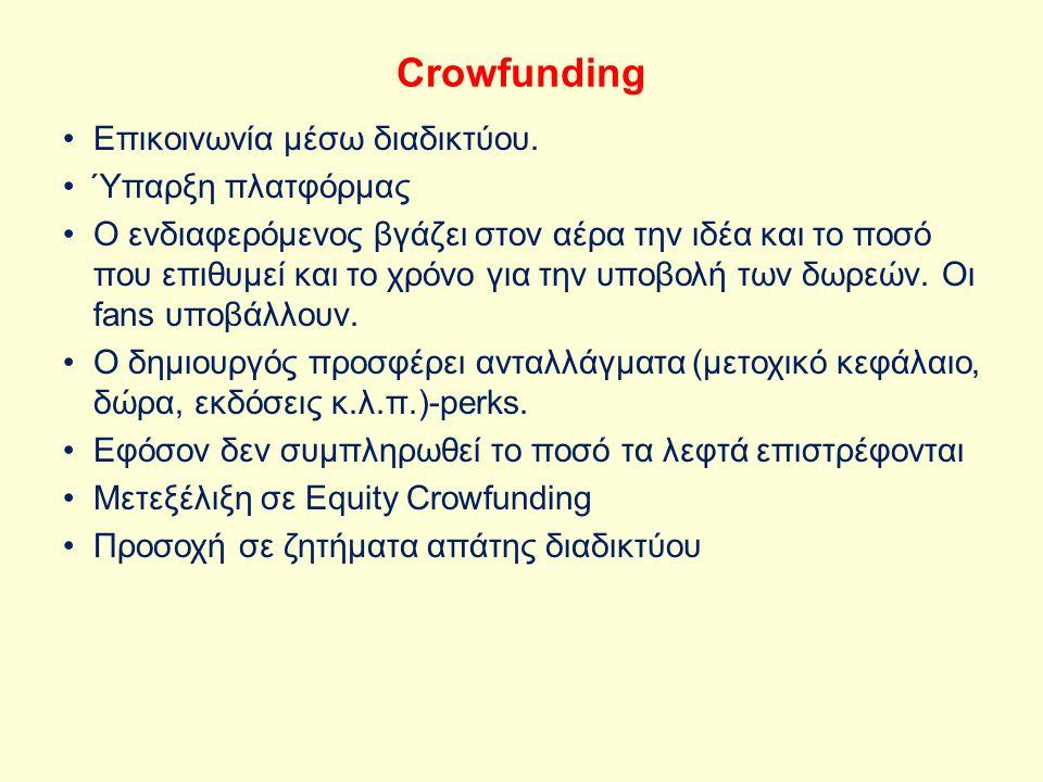 Crowfunding Eπικοινωνία μέσω διαδικτύου. Ύπαρξη πλατφόρμας Ο ενδιαφερόμενος βγάζει στον αέρα την ιδέα και το ποσό που επιθυμεί και το χρόνο για την υπ