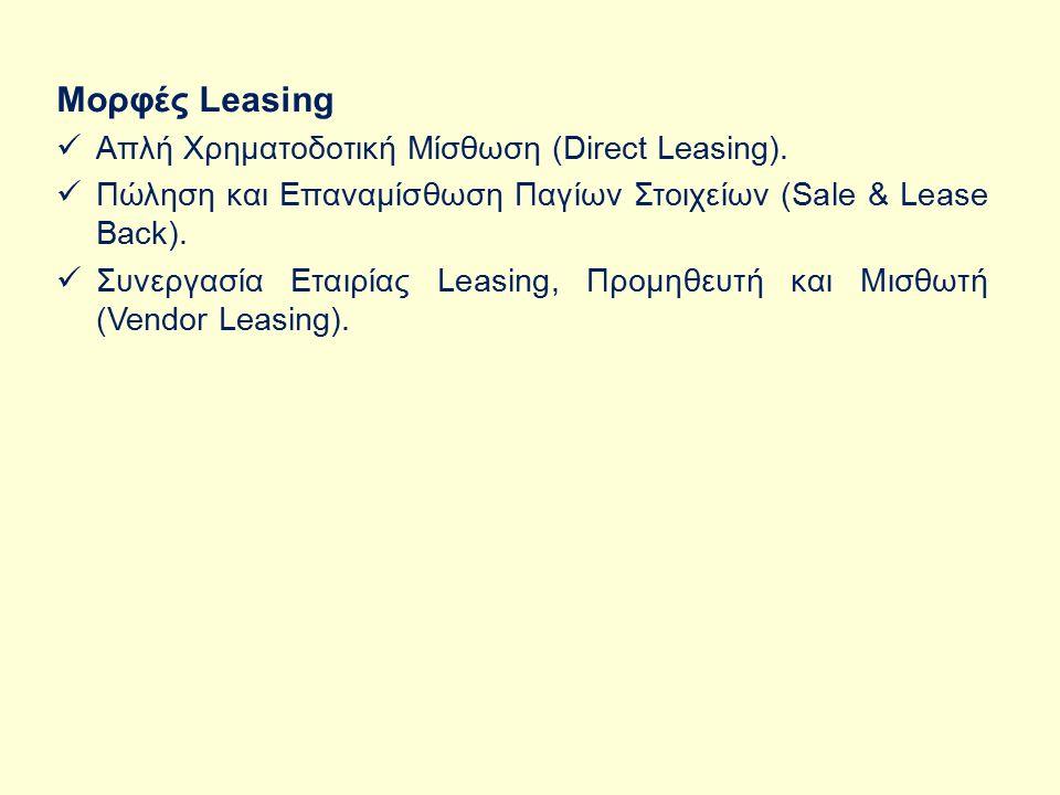Μορφές Leasing Απλή Χρηματοδοτική Μίσθωση (Direct Leasing).