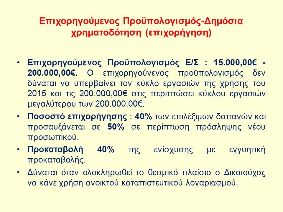 Επιχορηγούμενος Προϋπολογισμός-Δημόσια χρηματοδότηση (επιχορήγηση) Επιχορηγούμενος Προϋπολογισμός Ε/Σ : 15.000,00€ - 200.000,00€.