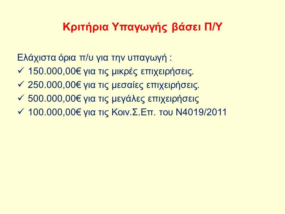Κριτήρια Υπαγωγής βάσει Π/Υ Ελάχιστα όρια π/υ για την υπαγωγή : 150.000,00€ για τις μικρές επιχειρήσεις.