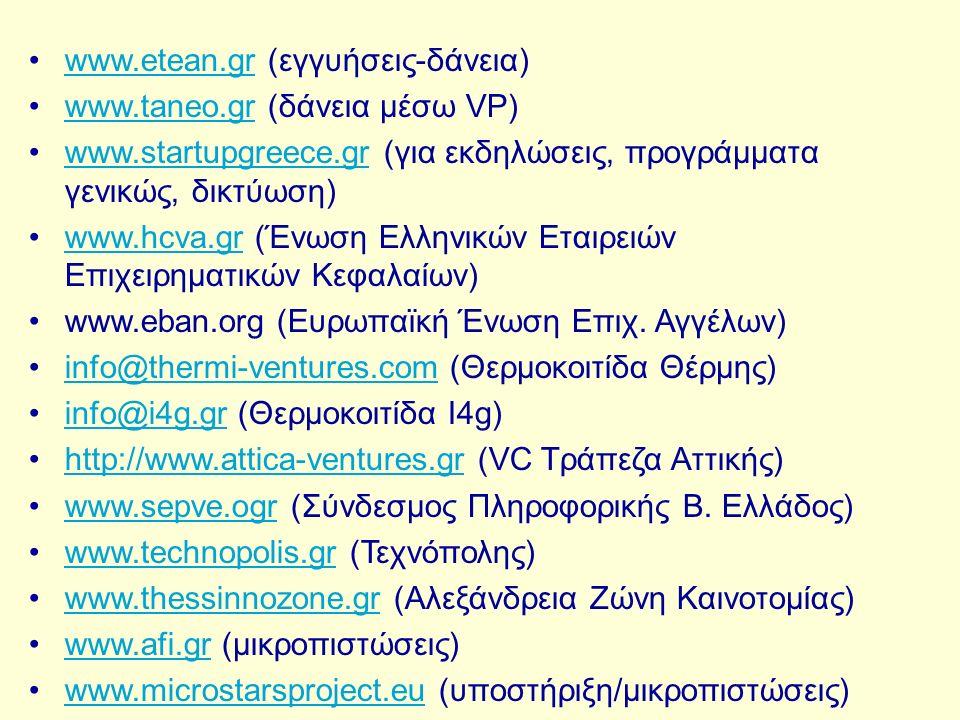 www.etean.gr (εγγυήσεις-δάνεια)www.etean.gr www.taneo.gr (δάνεια μέσω VP)www.taneo.gr www.startupgreece.gr (για εκδηλώσεις, προγράμματα γενικώς, δικτύωση)www.startupgreece.gr www.hcva.gr (Ένωση Ελληνικών Εταιρειών Επιχειρηματικών Κεφαλαίων)www.hcva.gr www.eban.org (Eυρωπαϊκή Ένωση Επιχ.