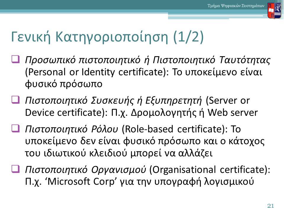 Γενική Κατηγοριοποίηση (1/2)  Προσωπικό πιστοποιητικό ή Πιστοποιητικό Ταυτότητας (Personal or Identity certificate): Το υποκείμενο είναι φυσικό πρόσωπο  Πιστοποιητικό Συσκευής ή Εξυπηρετητή (Server or Device certificate): Π.χ.