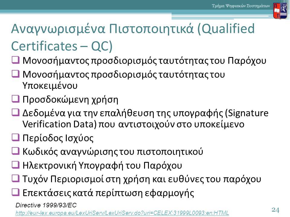 Αναγνωρισμένα Πιστοποιητικά (Qualified Certificates – QC)  Μονοσήμαντος προσδιορισμός ταυτότητας του Παρόχου  Μονοσήμαντος προσδιορισμός ταυτότητας του Υποκειμένου  Προσδοκώμενη χρήση  Δεδομένα για την επαλήθευση της υπογραφής (Signature Verification Data) που αντιστοιχούν στο υποκείμενο  Περίοδος Ισχύος  Κωδικός αναγνώρισης του πιστοποιητικού  Ηλεκτρονική Υπογραφή του Παρόχου  Τυχόν Περιορισμοί στη χρήση και ευθύνες του παρόχου  Επεκτάσεις κατά περίπτωση εφαρμογής 24 Τμήμα Ψηφιακών Συστημάτων Directive 1999/93/EC http://eur-lex.europa.eu/LexUriServ/LexUriServ.do uri=CELEX:31999L0093:en:HTML