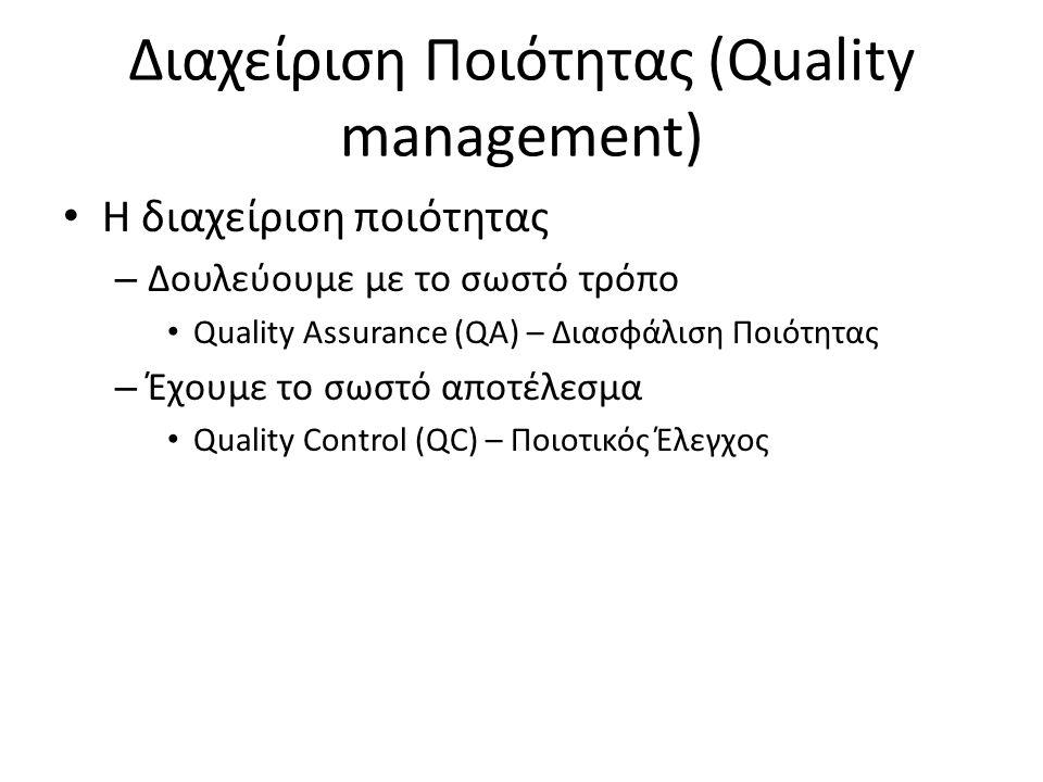 Διαχείριση Ποιότητας (Quality management) Η διαχείριση ποιότητας – Δουλεύουμε με το σωστό τρόπο Quality Assurance (QA) – Διασφάλιση Ποιότητας – Έχουμε το σωστό αποτέλεσμα Quality Control (QC) – Ποιοτικός Έλεγχος