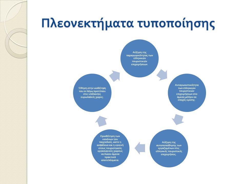 Πλεονεκτήματα τυποποίησης Αύξηση της π αραγωγικότητας των ελληνικών τουριστικών ε π ιχειρήσεων. Ανταγωνιστικότητα των ελληνικών τουριστικών ε π ιχειρή